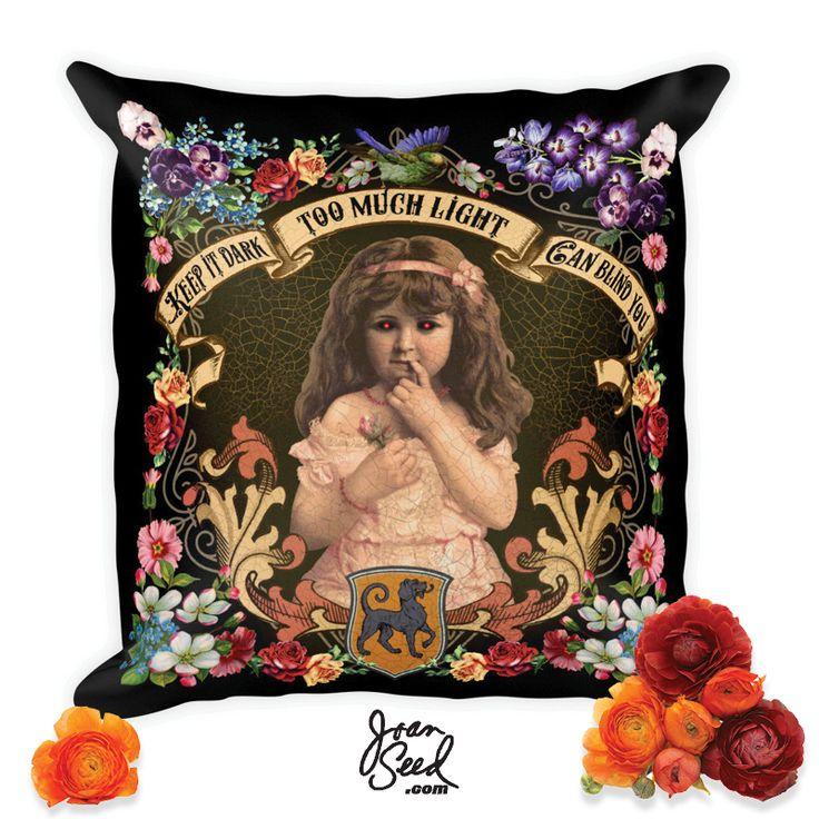 joanseed KEEP IT DARK Decorative Pillow ☠️💋⠀ 👜 joanseed.com/collections/decorative-pillows⠀ #dark #homedecor #goth #gothic #graphicdesigner #death #victorian #comfort #decorativepillows #hallucination #art #artist #artsy #creative #instaartist #graphic #artoftheday #shoponline #provocative #floraldesign #shameless #youreNext #musthave #dope