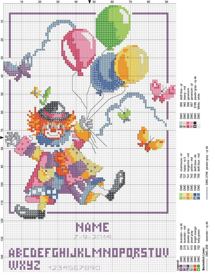 Birth sampler Clown with balloons