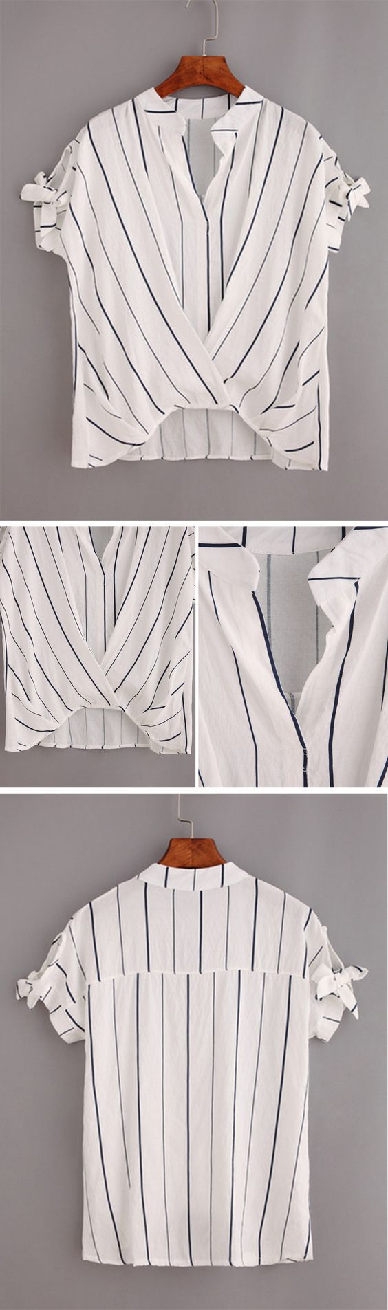 Vertical Striped Tie-Sleeve Draped Top - White: