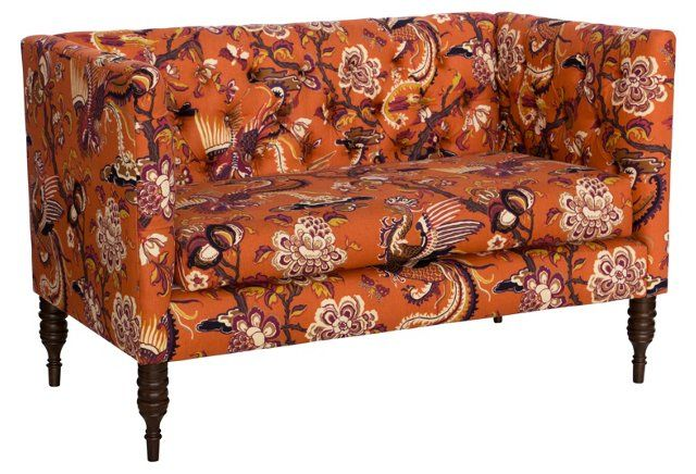 Elizabeth Tufted Settee Burnt Orange Furniture Fantasy Pinterest Orange Settees And