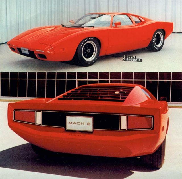 The Ford Mach 2 was design by Larry Shinoda in 1970 as a challenger to the Corvette. It did not however meet production. The car was based on a De Tomaso Pantera chassis and engine. The Mach II project was abandonned when Ford teamed up with De Tomaso to sell the Pantera in the US through there Lincoln-Mercury dealer network, which was cheaper than developing this car.