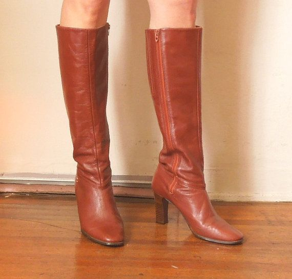 vintage boots knee high caramel brown leather high