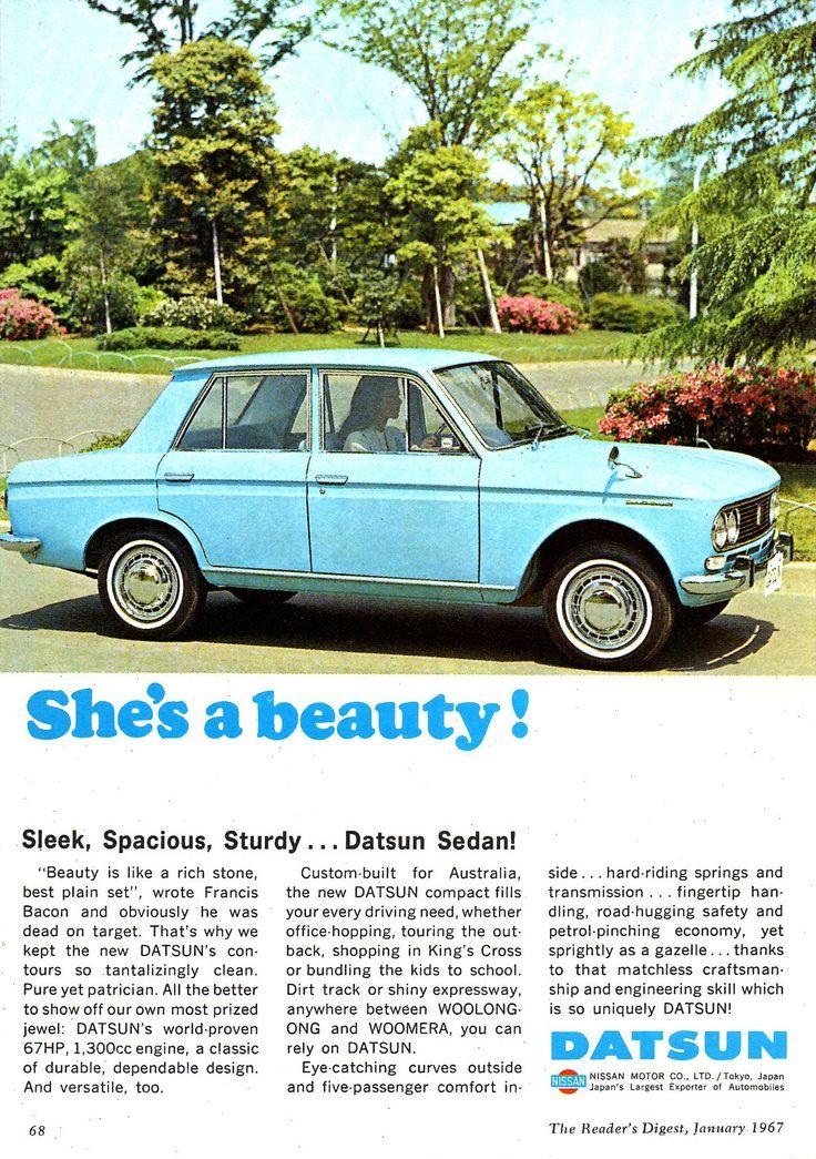 https://flic.kr/p/E1f4jw   1967 Datsun 1300 4 Door Nissan Aussie Original Magazine Advertisement