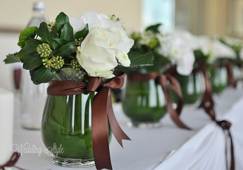 Green and Brown Wedding centerpieces