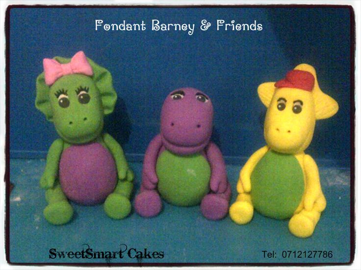 Fondant Barney & Friends. For info & orders email sweetartbfn@gmail.com