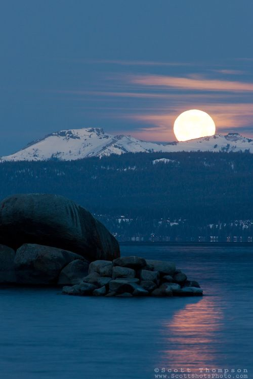 """Full Moon Setting Over Lake Tahoe"" -  shot from Sand Harbor State Park, Nevada"
