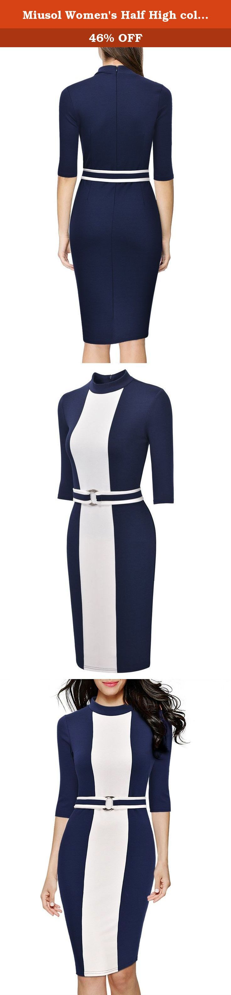 Miusol Women's Half High collar Optical Illusion Business Slim Dress. Women's Half High collar Optical Illusion Business Slim Dress.