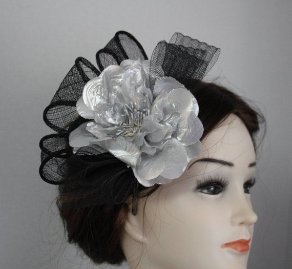 Mini Hat Feather Fascinator Black Corsage Bridal Wedding Races Head Hair Clip
