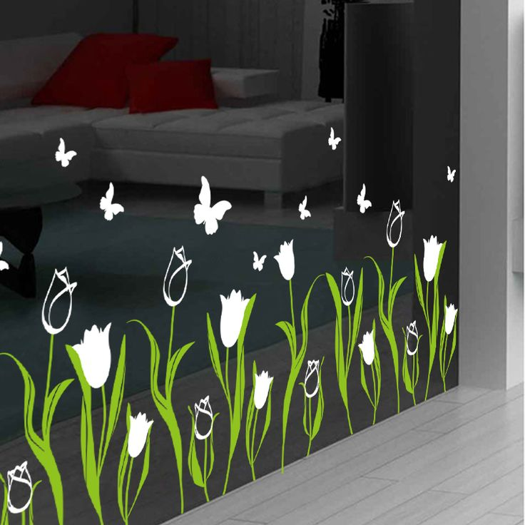 Tulip flowers and decorative wall stickers romantic storefront shop window glass decals baseboard corner line-in Wall Stickers from Home, Kitchen & Garden on Aliexpress.com | Alibaba Group // http://www.aliexpress.com/item/Tulip-flowers-and-decorative-wall-stickers-romantic-storefront-shop-window-glass-decals-baseboard-corner-line/32491387415.html