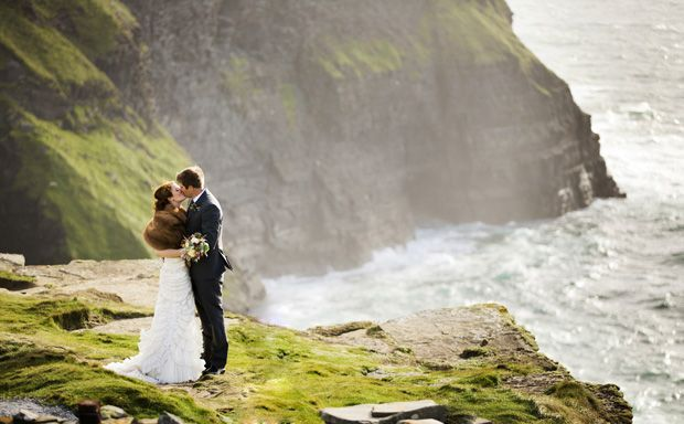 The ultimate Irish wedding - a wedding on the Cliffs of Moher - Happy St. Patrick's Day #ireland