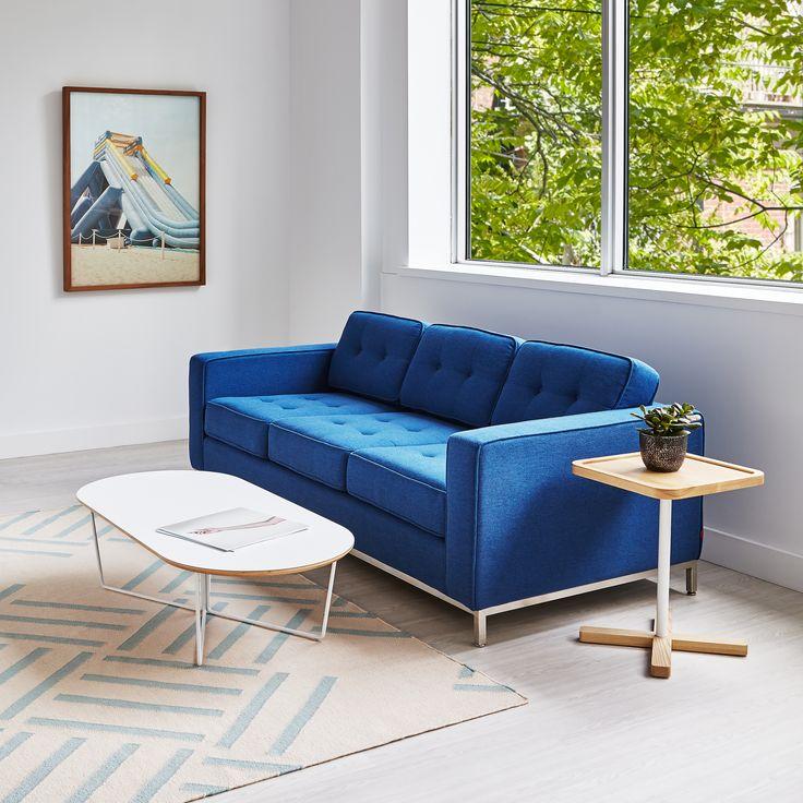 Jane Sofa - Stockholm Cobalt, Array Coffee Table, Hatch Rug & Axis End Table | Gus* Modern