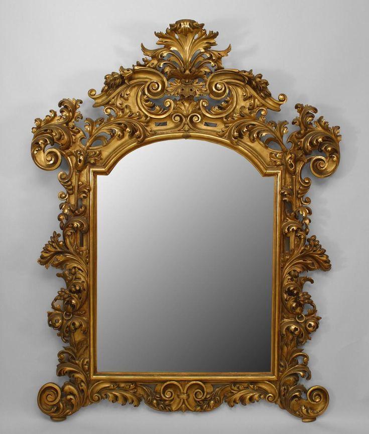 Italian Rococo Mirror Wall Gilt, Vintage Brass Rococo Wall Mirror