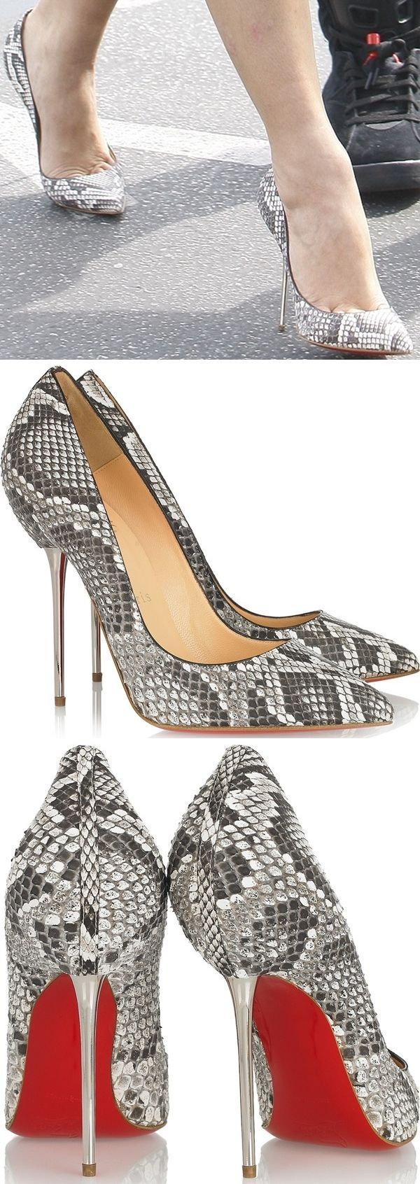 Kim Kardashian in Christian Louboutin 'Lipsinka' python point toe pumps