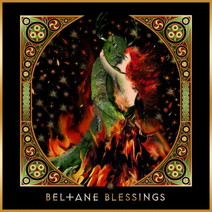 """Beltane Fire"" Pagan Wiccan Festival Greetings Card by Lila Engel. Available at www.lilaengel.co.uk"