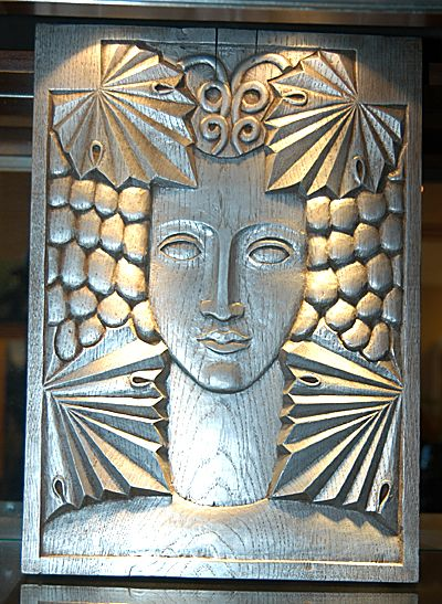 Stylized Deco Woman Carved wooden block in silver leaf