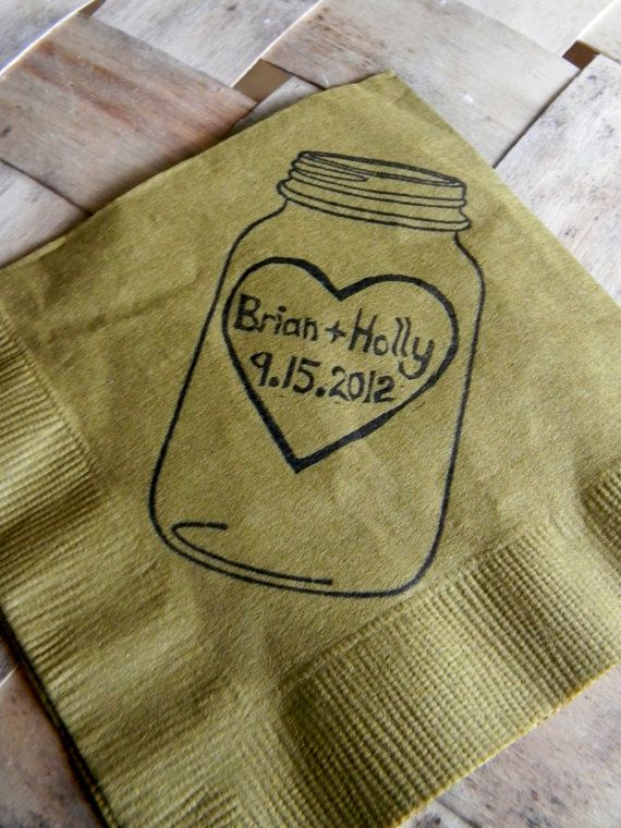 Rustic Personalized Golden Brown Mason Jar Burlap Wedding Cocktail Napkins with Large Heart Couples Names and Wedding Date- set of 50 on Etsy, $30.00