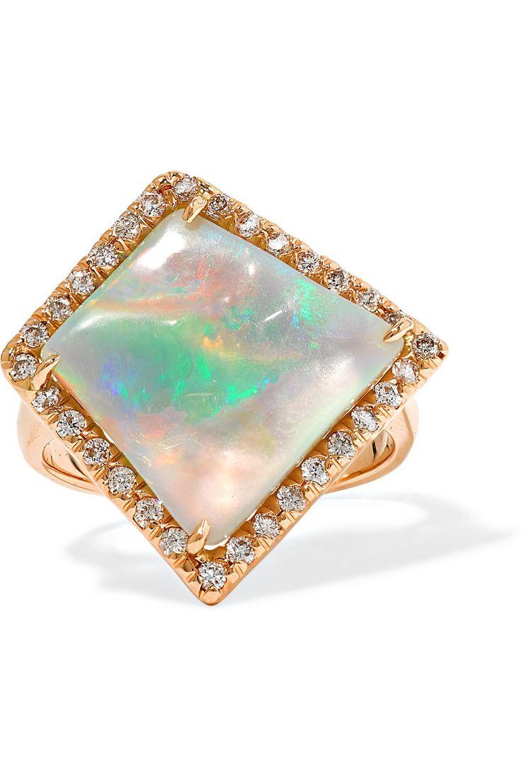 Kimberly mcdonald 18 karat rose gold opal and diamond ring