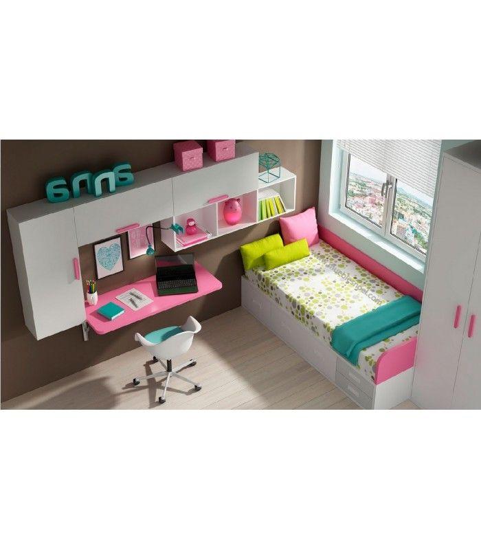 Muebles a medida para dormitorios juveniles con camas, armario, estanterías y escritorios plegables. Fabricado en España.