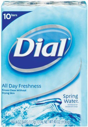 Dial Spring Water Antibacterial Soap Bar, 4-Ounce Bars, 10-Count (Pack of 3) by Dial. $18.93. All day freshness; Also available in body wash; Rinses clean without drying the skin. Cool and crisp, this bar soap delivers a clean as invigorating as a dip in a natural spring. With Dial's long-lasting deodorant protection, you'll enjoy that clean, refreshed feeling all day.
