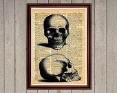 Human skull medicine anatomy bones print Rustic decor Cabin Vintage Retro poster Dictionary page Home interior Wall 0006