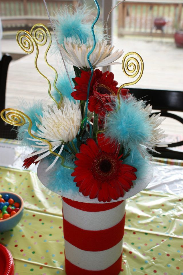 Dr. Seuss- Table Decor - could be adapted for bathroom decoration? clever and simple