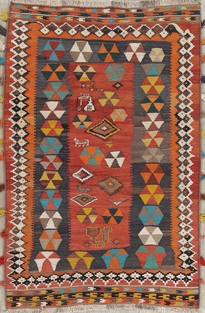 Nomad Tribal Wool Kilim Qashqai Persian Oriental Area Rug Antique 4x6 Must See Qashqai Tribal Tribal Rug Oriental Persian Rugs Kilim Woven