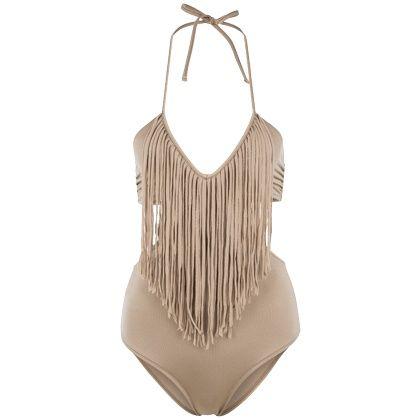 Badeanzug mit Fransen - Cooler beiger Badeanzug von Guess. Damit bist Du der Hingucker an jedem Pool und Strand. - ab 69,90€