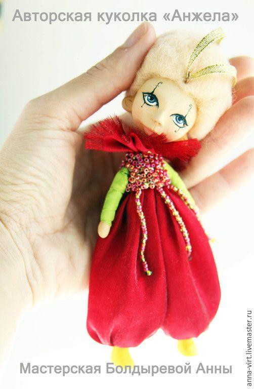 Купить Анжела - ярко-красный, кукла ручной работы, кукольная миниатюра, кукла в подарок