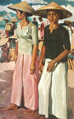 "Henk Ngantung, ""Dua Gadis Memakai Tjaping"", oil on canvas, 1957"