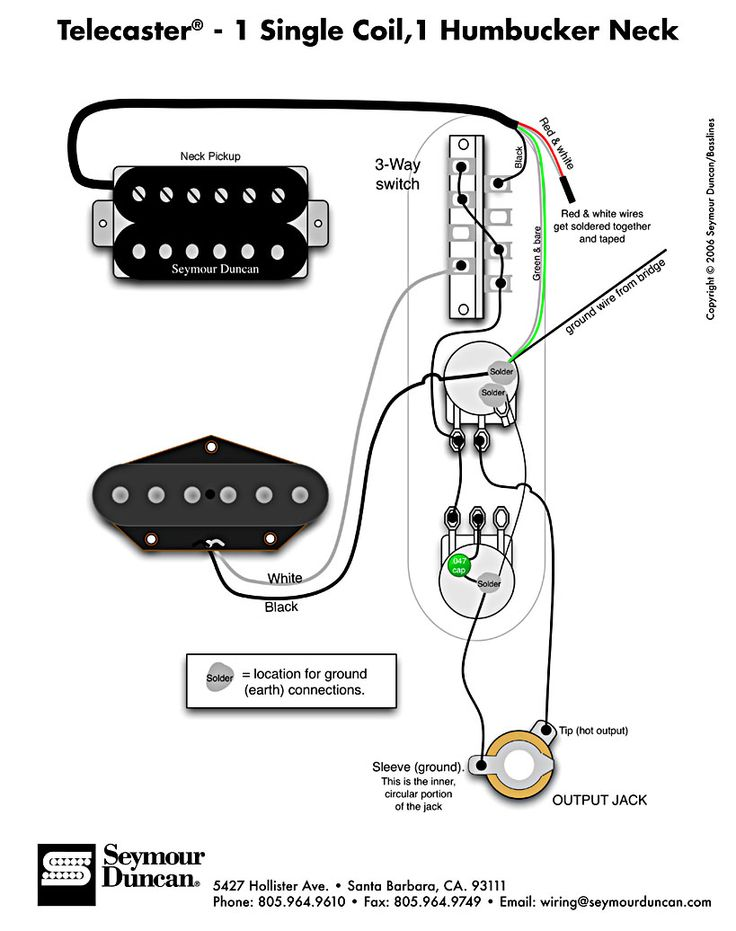 Tele Wiring Diagram - 1 single coil, 1 neck humbucker. My ...