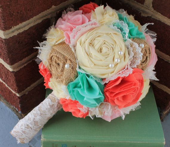 Romantic pink, coral, mint and butter rustic french pastry themed lace bridal wedding bouquet. Shabby chic fabric flowers. on Etsy, $115.00