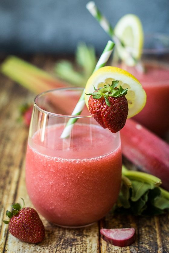 Create an instant party and mix up something fun with these easy Strawberry Rhubarb Daiquiris!