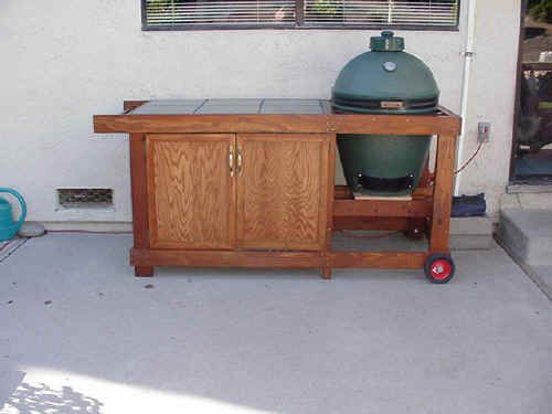 Big Green Egg Table Plans   Mikes Big Green Egg...ask Tod about building shelves above tile