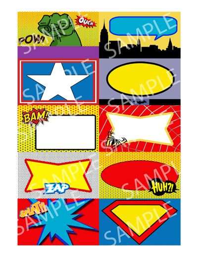 super hero party food | superhero-birthday-party-place-cards-bus iness-card-size-name-tags ...