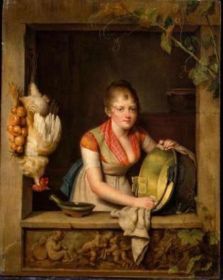 Martin Drölling: Dienstmeisje bij het venster , Jonge vrouw die een koperen pot schoonmaakt. ca. 1798. Poesjkin Museum, Moscow. Geïnspireerd op Gerard Dou: Jonge vrouw in een venster, een koperen ketel boenend. 1663.