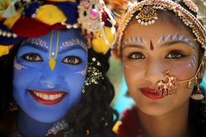 Discover How the Krishna Janmashtami Festival is Celebrated in India: Dressed up as Lord Krishna and Radha.