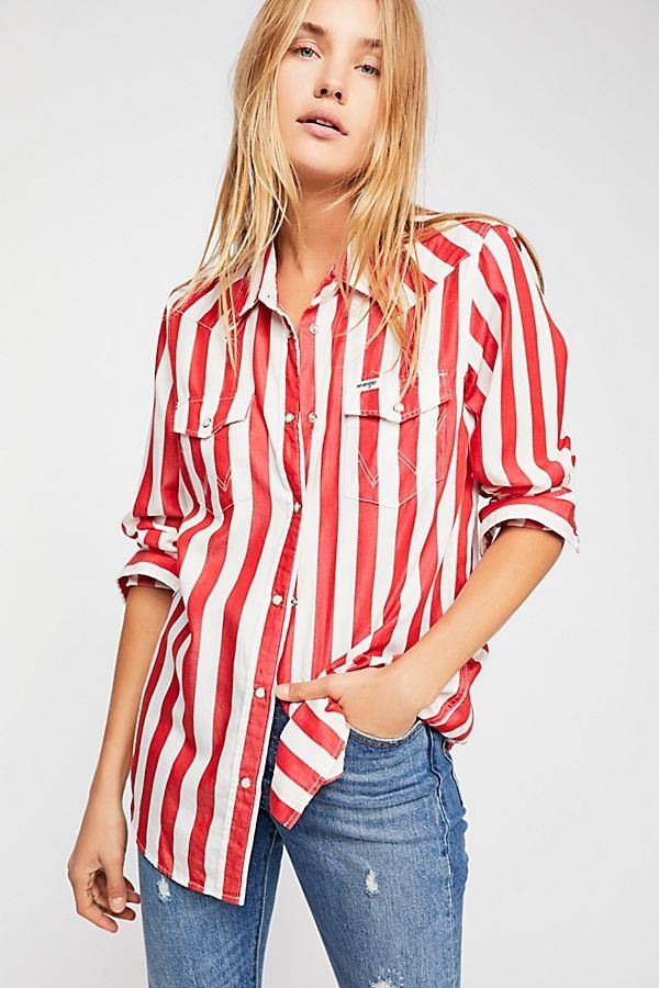 72437975099256 Wrangler Oversize Stripe Western Shirt - Red and White Striped Wrangler  Button Down Top