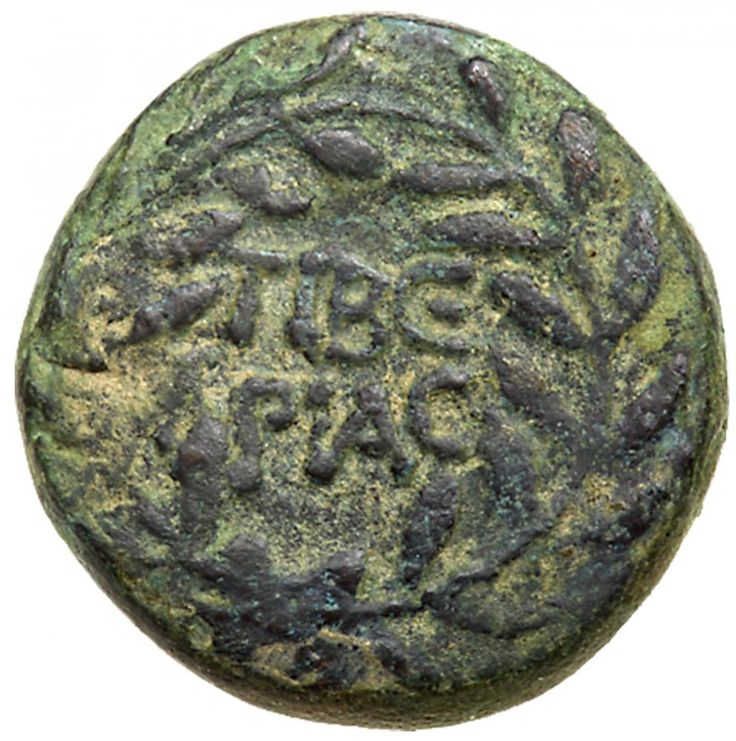 Judaea, Herodian Kingdom. Herod III Antipas. Æ Half denomination (5.39 g), 4 BCE-39 CE Tiberias, RY 33 (29/30 CE). TIBE/PIAC in two lines within wreath. HPωΔOY [TETPAPXOY], palm branch; across field, date (L ΛΓ). TJC 80; RPC 4923. Green patina. From the Dr. Patrick Tan Collection. #Coins #Ancient #Judaea #MADonC