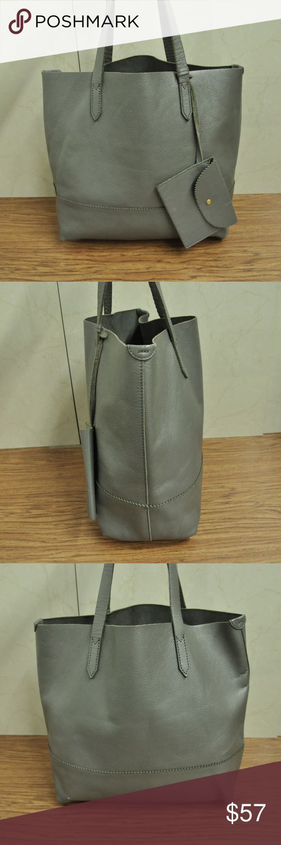 J CREW DOWNING TOTE  BAG  GRAY LEATHER J CREW DOWNING TOTE  BAG  GRAY LEATHER   the purse is pre-owned  good CONDITION  the leather has signs of wear  STAINS ON LINING no tear no holes no odors  if you need more photos let me know HEIGHT 13'' WIDTH 14'' DEPTH 9'' STRAP DROP 14'' J CREW Bags Totes