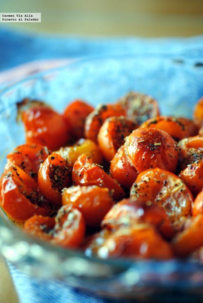 Directo al Paladar - Tomates cherry asados a las hierbas provenzales. Receta de guarnición