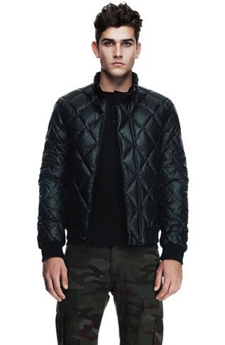 Shiny Diamond Quilted Puffer Jacket Outerwear Mens