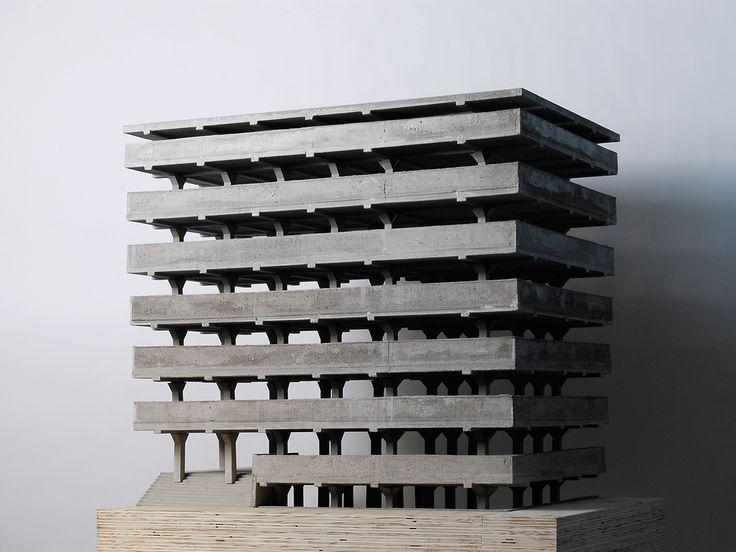 MIESINTERPRETATION: Concrete Office Building (1923) by Mies van der Rohe / Model by Theo van Hoeve