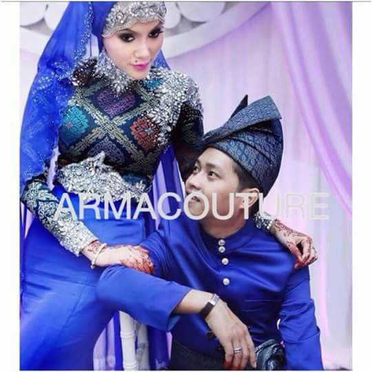 Songket dress in royal blue By arma couture malay