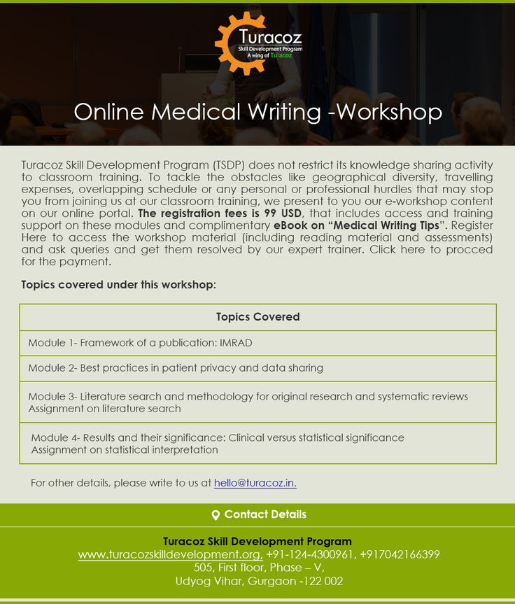 "Let's go #Digital with #TuracozSkillDevelopmentProgram. We present our #EWorkshop content at your doorstep on #OnlineMedicalWritingTraining. Get access to the #LearningMaterials through four #StudyModules and #Complimentary #EBook on ""#MedicalWritingTips"". The four modules will explain about: • #Framework of a #Publication: #IMRAD • Best practices in #PatientPrivacy and #DataSharing"