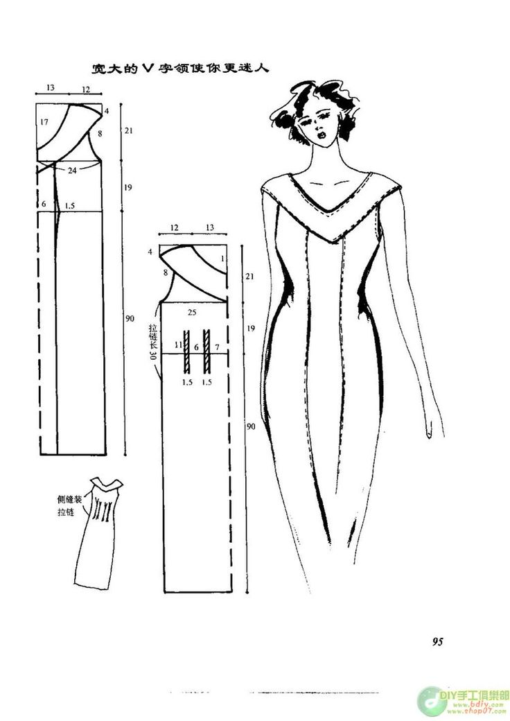 Foreign site with illustration for how to alter a standard sheath dress pattern to create *lots* of different dress styles.