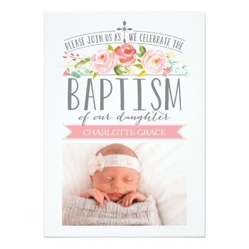 De 308 bedste billeder fra baptism p pinterest babydreng rose banner pink baptism invitation stopboris Choice Image