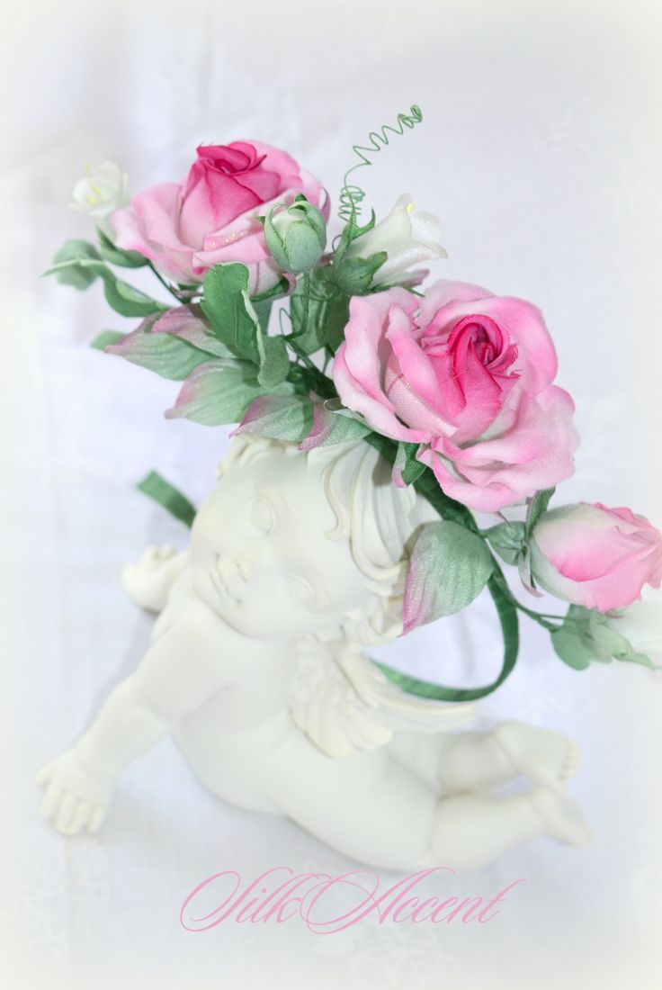 Wreath on head rim with pink roses and bells of silk bride's hairstyle wedding flowers of fabric white campanula buy gift woman girl NEW by FlowerFlirt on Etsy