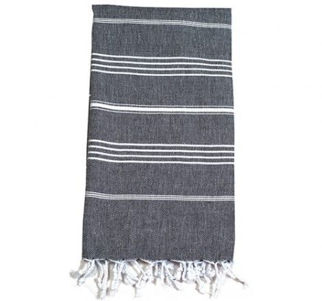 The Classic Stone cotton turkish towel is a mid-grey hue, sleek and modern with smart white stripes. Suitable for everyone as a quick-drying towel, beach wrap or travel accessory. An all-cotton weave makes it light, breathable, and easy to launder. A real space saver whether in a bag, wardrobe or washing machine.  Thin white stripes on a stone brown background Made with a selvedge edge 100cm x 175cm  $39.95