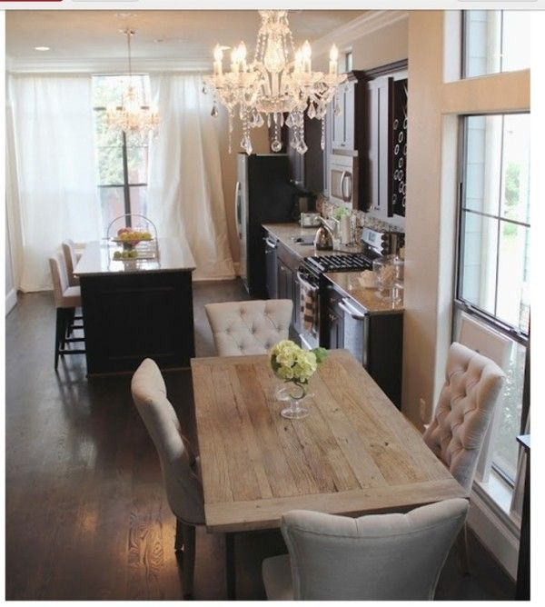 Farm Style Kitchen Table and Chairs with Diy Button Tufted Cushion Alongside Slide in Gas Range on Custom Made Counters Using French Brown Granite also Tall Kitchen Tables
