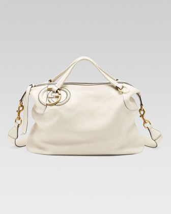 Gucci Twill Leather Large Shoulder Bag White 53